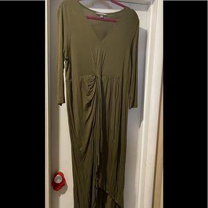 Kate & Mallory Maxi long sleeve olive green dress